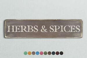 HERBS & SPICES Vintage Style Wooden Sign. Shabby Chic Retro Home Gift