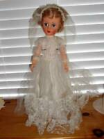 "Plaything ~ Vintage 1950's One Piece Body HP Vinyl Bride Doll 19"""