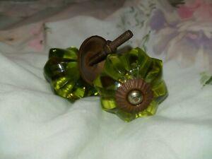 """2 Vintage Large Green 2"""" Glass Cabinet Knobs Drawer Pulls original hardware"""