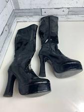 Black PVC Kinky Boots Size 6 UK 39 EUR Goth 5 Inch Heel Knee High Full Zip Cross
