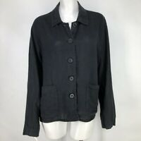 Flax Womens Medium Black Linen Shirt Boxy Lagenlook Button Front Pockets M
