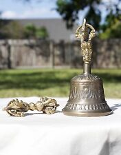 Tibetan Brass Bell with Dorje Medium