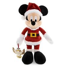DISNEY PARKS AUTHENTIC SANTA MICKEY HOLIDAY PLUSH WITH OWL PLUSH ORNAMENT NWT