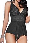 Mujer Lencería Sexy Vestido De Encaje Babydoll ropa Noche Interior Pijama Mono