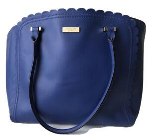 kate spade Maxime Maple Court Large Blue Shoulder Leather Tote Handbag