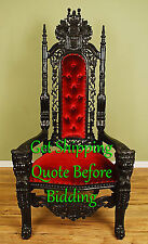 Carved Mahogany King Lion Gothic Throne Chair Black Finish with Red Velour 6'