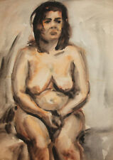 Vintage impressionist nude woman portrait watercolor painting FREE SHIPPING