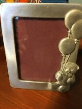Vintage Pewter Seagull 4 X 4� Easel Back Picture Frame Teddy Bear Balloon Baby