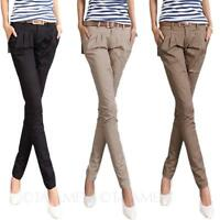 womens Pants Career Straight Leg Office Trousers cotton Skinny long Size tata