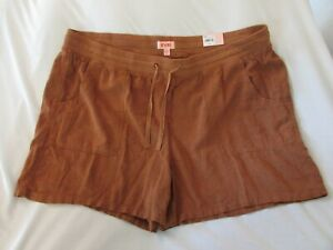 "Ladies ""EVRI"" Size 24W, Gold, Elastic Waist w/Drawstring, Soft Utility Shorts"