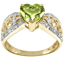 Natural Heart Peridot & 18 Diamond 9ct 9K Solid Gold Ring - Bravo Jewellery