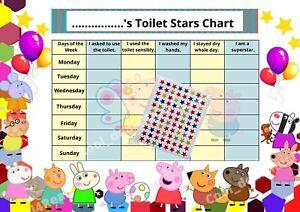 Kids Children Toilet Potty Training Reward A4 Chart & Sticker Sheet Free Postage