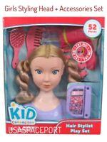 Girls 52piece Beauty Salon HAIR STYLIST HEAD Styling Set BLOW DRYER My Size Doll