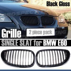 NEW Kidney Grilles For 5 Series BMW E60 E61 BLACK GLOSS SINGLE SLAT 2003 - 09 UK