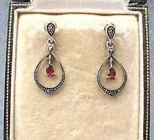 Dainty Deco Design Marcasite Silver & Garnet CZ Drop Earrings