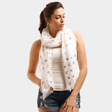 White and Gold Foil Print FASHION Scarf