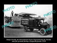OLD LARGE HISTORIC PHOTO OF TAMPA FLORIDA, THE INTERNATIONAL TRUCKS PARADE c1930
