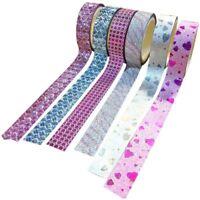 Lot 10x DIY Self Adhesive Glitter Washi Masking Tape Sticker Craft Decor 15 M3F6