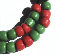 41 RARE SMALL AMAZING OLD RED/GREEN VENETIAN ANTIQUE BEADS AFRICAN TRADE