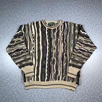 Vintage 90s CROFT & BARROW Cosby Style Mens Sweater XL   3D Knit Jumper