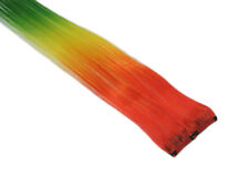 """CLIP-IN 12"""" HAIR EXTENSION TRANSITIONAL RED YELLOW GREEN EMO SCENE GOTH"""