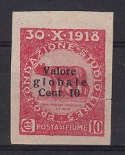 FRANCOBOLLO NON DENTELLATO C.10 FIUME FONDAZIONE 1920