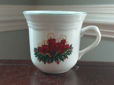 Vtg Christmas Mug Holiday Red Candle Green Holly Leaf Berry Porcelain Coffee GEI