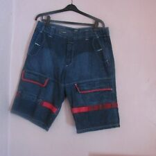 NICE PAIR OF MEN'S MARITHE GIRBAUD RED TRIM CARGO BLUE JEAN SHORTS SIZE 38