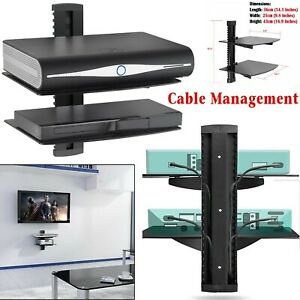 New 2 Tier Black Glass Floating Wall Mount Shelf Sky Box Game Console DVD Player