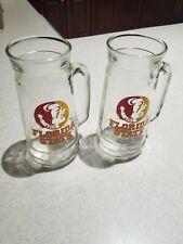 2 Vintage Florida State Seminoles Glass Beer Mugs Rare Peanut Jar NICE! Noles