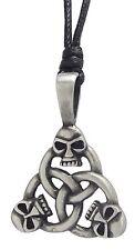 Pewter SKULL TRINITY Pendant on Black Cord Necklace Nickel Free Celtic Knot