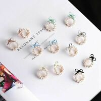Korean Style Women Cute Pearl Bow Knot Round Stud Earrings Fashion Jewelry Gift