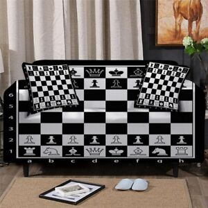 Chess Board Game Play Sofa Chair Couch Cushion Stretch Cover Slipcover Set Decor