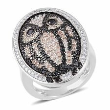 OWL SIMULATED DIAMOND PAVE DESIGN FASHION STAINLESS STEEL RING SIZE 5 BIRDS