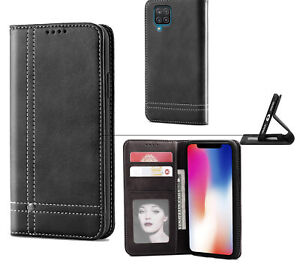 Galaxy A12 Leather Wallet Case Stitched