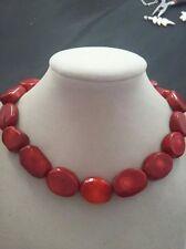 Natural Red Coral Huge Gemstone Necklace 18inch