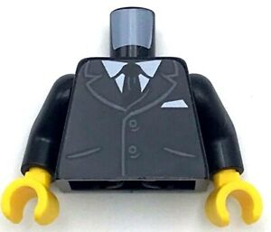 Lego New Torso Suit Jacket Buttons Pockets Shirt Black Tie Business Piece