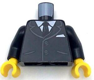 Lego New Torso Suit Jacket Buttons Pockets Shirt Black Tie Business Piece