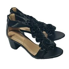 Patrizia Spring Step Quenteel Block Heel Sandals Womens Black EU Size 38 Floral