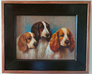 3 DOGS - BEAUTIFUL PORTRAIT. OIL PAINTING ON CANVAS.
