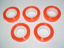 Set x5 Rouleau Ruban Adhesif Orange Transparent 33 Mètre x 12 mm Papeterie