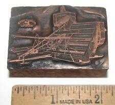 John Deere 11A 12A Combine Logo Copper Wood Print Block Letterpress Advertising
