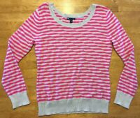 Gap Women's Pink & Brown Striped Long Sleeve Scoop Neck Sweater - Size: Medium