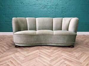 Mid Century Art Deco Danish Mint Green Velour 2.5 Seat 'Banana' Sofa 1930s 40s
