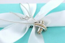 """RARE Tiffany & Co Sterling Silver 18K Gold Signature X Rope Pendant 17"""" Necklace"""