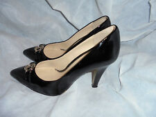 SCAPA WOMEN'S BLACK PATENT LEATHER SLIP ON HEEL SHOES SIZE UK 3 EU 36 VGC