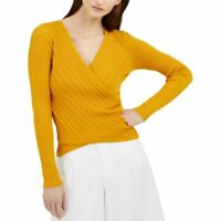 INC NEW Women's Surplice Ribbed Pointelle V-Neck Sweater Top TEDO