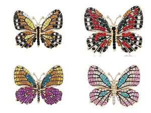 Ladies Women Crystal Rhinestone Butterfly Animal Fashion Jewellery Pin Brooches
