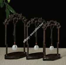 Chinese black wood carved 1 set 3PC Kylin figure pendant shelf display stand