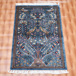 2'x3' Sky Blue Color Tree of life Silk Hand-Knotted Oriental Rug Wall Decor Mat
